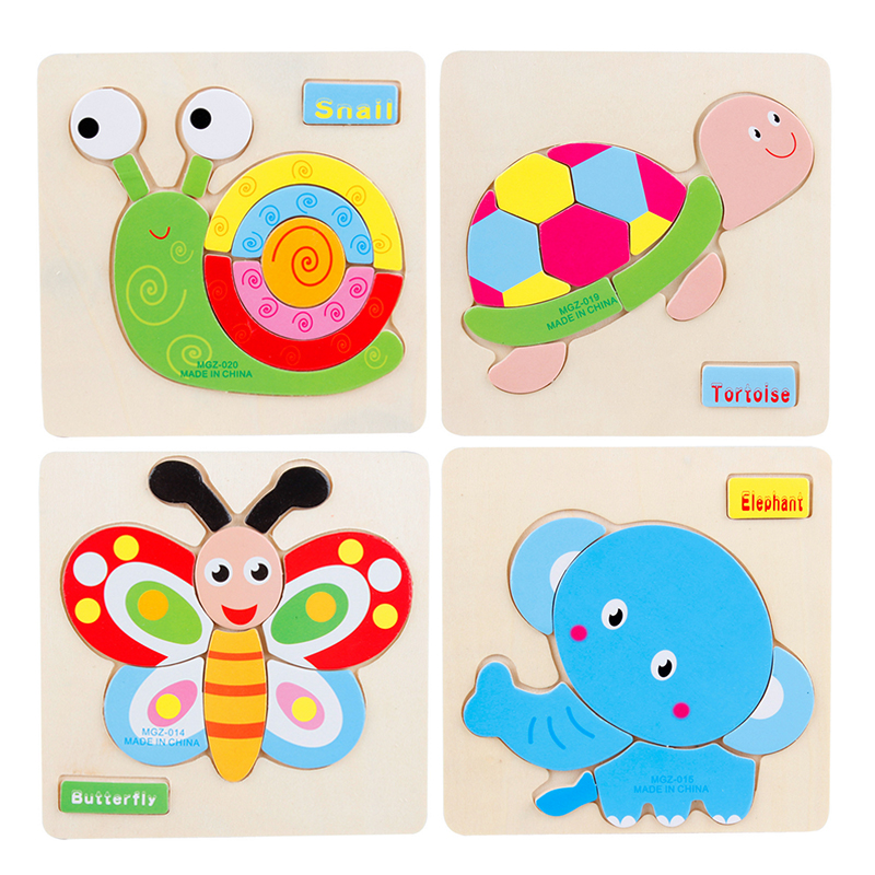 3D Wooden Puzzles Educational Baby Toys for Children Cute