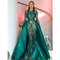 Unique Green Lace Evening Dress Long Sleeve Detachable Train Mermaid Prom Gowns 2018 Custom Made Specail Occasion Women Dresses