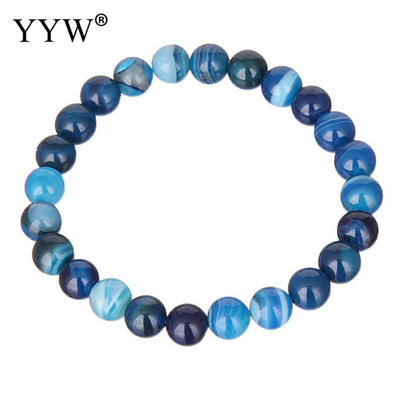 YYW Women Men Elastic Bracelet Jewelry Natural Agata Round Beaded Bracelets 6/8/10/12/14mm Rose Green Rainbow Stone Bracelets