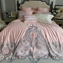 New Luxury Pink White 100S Egyptian Cotton Lace Embroidery Princess Girl Bedding Set Duvet Cover Bed Linen sheet Pillowcases