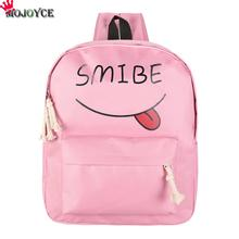 376dbafdd5 MOJOYCE Canvas Women Backpack Smile Girl School Bags Letter Backpack Women  Zipper Big Capacity Travel Backpacks