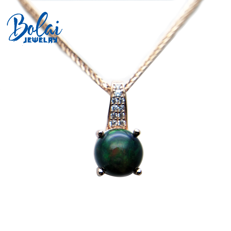 bolaijewelry,simple style natural black opal round 8mm gemstone small pendant in 925 silver rose color for women christmas gift simple style solid color round hairgrip for women