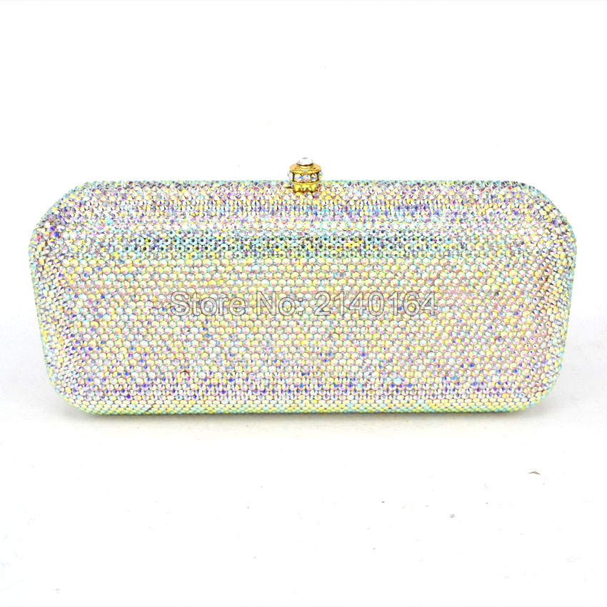 LaiSC white crystal evening bags Luxury diamond Clutch bags silver color party bags women wedding pochette bride handbags 88619