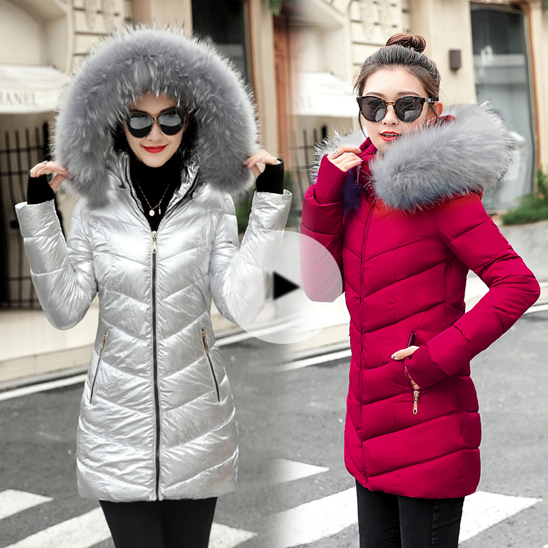 winter jacket women 2019 Female Long Winter Fake Fur Collar Warm Parka