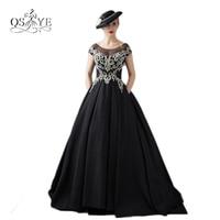 Vestido de Festa Luxury Beading Formal Evening Dresses 2018 Vintage Saudi Arabia Black Stain Open Back Ball Gown Prom Dresses