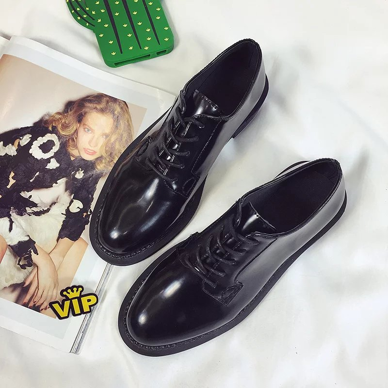 Brand Oxford Shoes for Women 2018 British Style Flats Brogues Leather Office Career Shoes Woman Lace up Oxfords Women Work shoes phyanic brand flat british style oxford shoes for women patent leather lace up ladies woman flats casual shoes 2018 spring