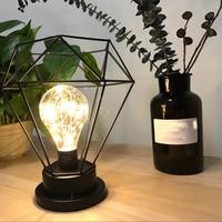 Minimalist Retro LED Table Lamp Light Desk Nightlight Diamond Tall Lamp Candle Holder Home Bedroom Decor