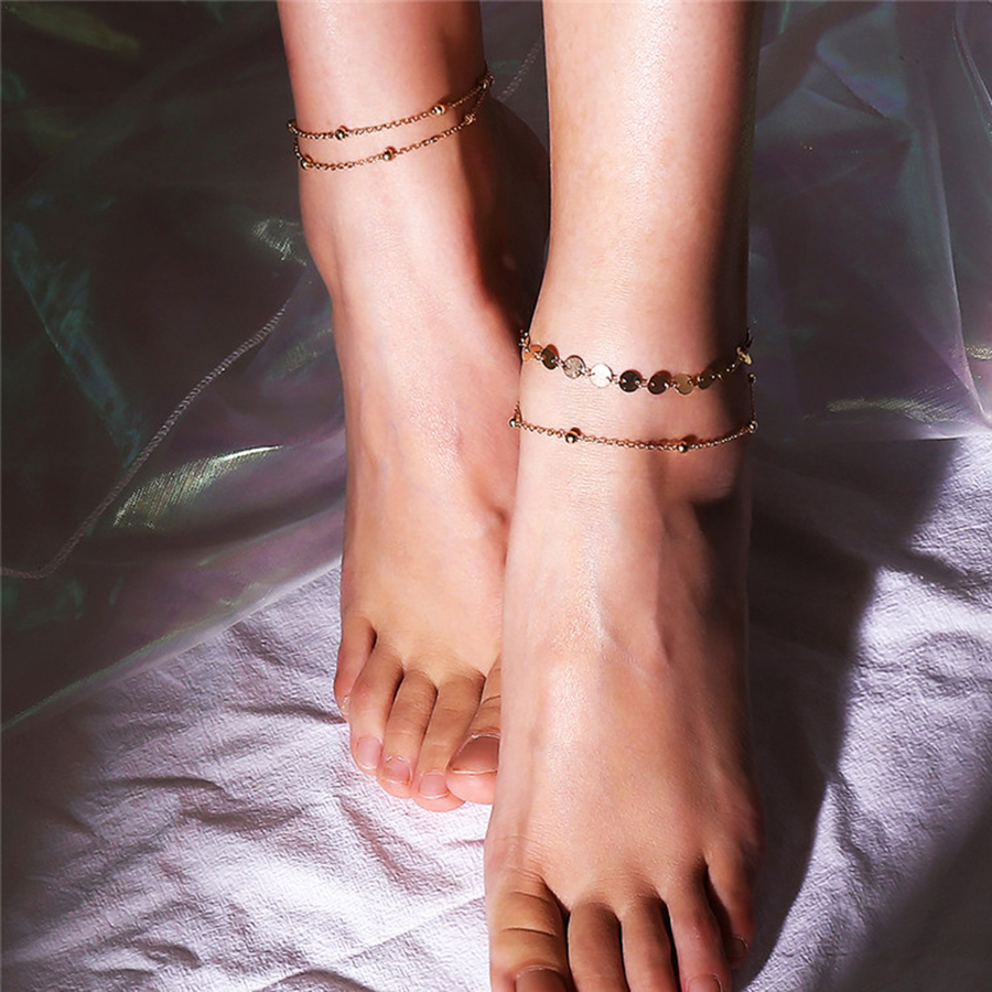 Ingemark 2018 New Multilayer Chain Anklet Bracelets for Women Copper Sequins Leg Ankle Barefoot Sandals Summer Foot Jewelry 1