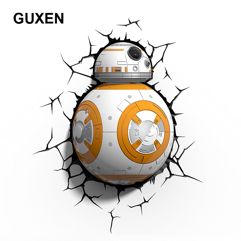 GUXEN 3D Deco LED Night Light Star Wars BB-8 Deco TOYS Wall Sticker Lamp For Children Gifts Kids Home Bed LED Lamp Lighting цена