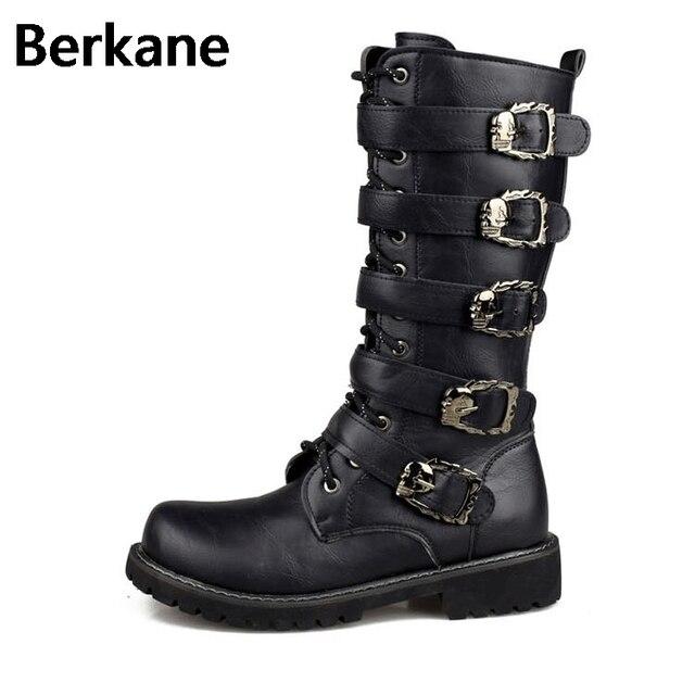 75b92de7f9c Army Boots Men Military Leather Combat Metal Buckle Male Motorcycle Punk Boots  Men s Shoes Rock Zapatillas Deprtivas Hombre