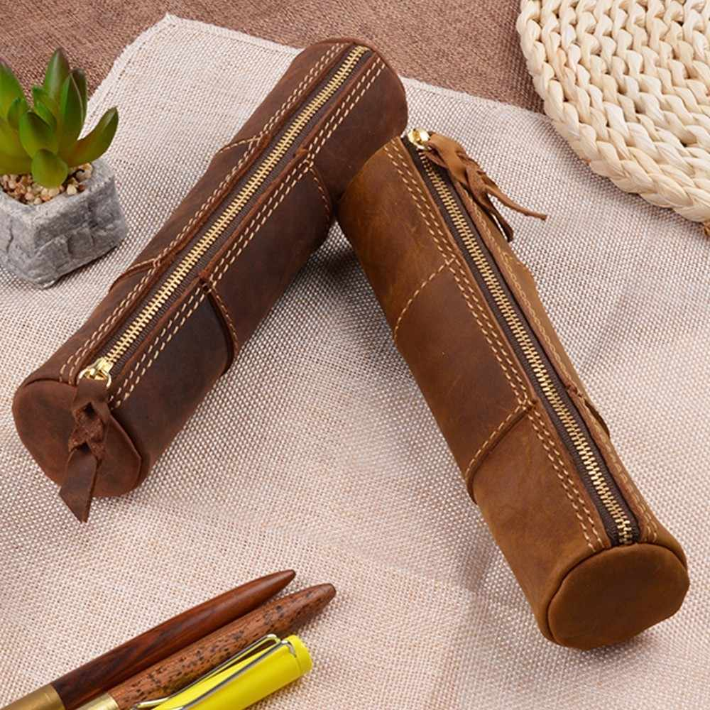 100% Genuine Leather Zipper Pen Pencil Bag Handmade Vintage Retro Style Creative Trinodal Model School Stationary Product