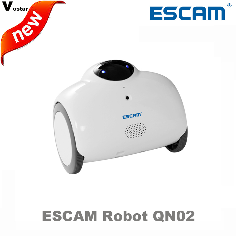 ESCAM Robot QN02 720P wireless ip camera support two way talk Touch interaction auto charge built