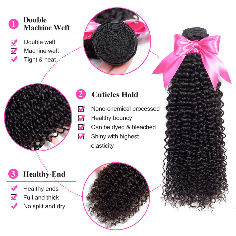 ISEE волос 3 Связки странный вьющиеся волосы ткет 100% Remy натуральные волосы расширение натуральный цвет бразильские пучки волос плетение