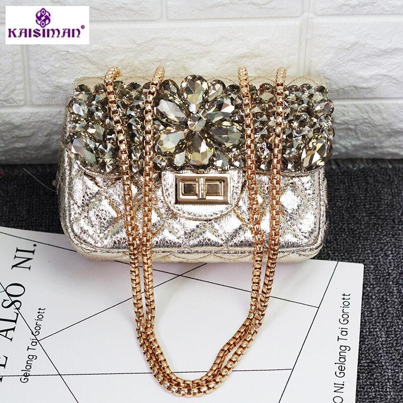 Luxury Acrylic Crystal Flower Women Fashion Gold Chain Shoulder Handbag Hardcase Lady Evening Box Clutch Crossbody Totes Bag Sac