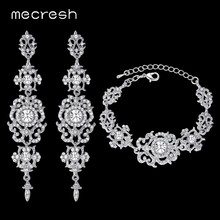 Mecresh Silver/Gold Color Crystal Bridal Jewelry Sets Floral Pattern Long Earrings Bracelet Set 2018 Fashion jewelry SL031+EH182(China)