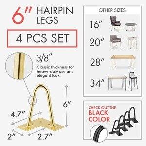 Image 4 - 4 sztuk 6 lub 7 Cal złota szpilka nogi, aby zainstalować nogi metalowe do mebli w połowie wieku nowoczesne nogi do kawy i koniec stoły krzesła