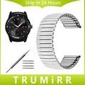22mm de acero inoxidable correa correa elástica para lg g watch w100 w110 w150 urbano pebble tiempo asus zenwatch 1 2 men band plata