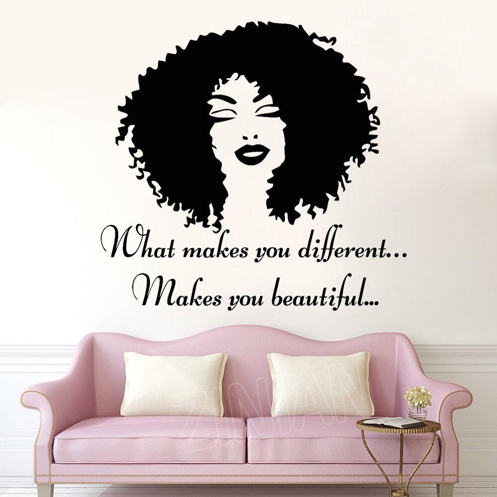 Fiducia Bella Afro Girl Poster Da Parete Sticker Camera Da Letto  Complementi Arredo Casa Moda Decalcomania Della Parete Murales Soggiorno  Salone di ...