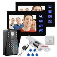 7″ Two Monitors RFID Password Video Door Phone Intercom Doorbell With IR Camera 1000 TV Line With NO-Electric Strike Door Lock