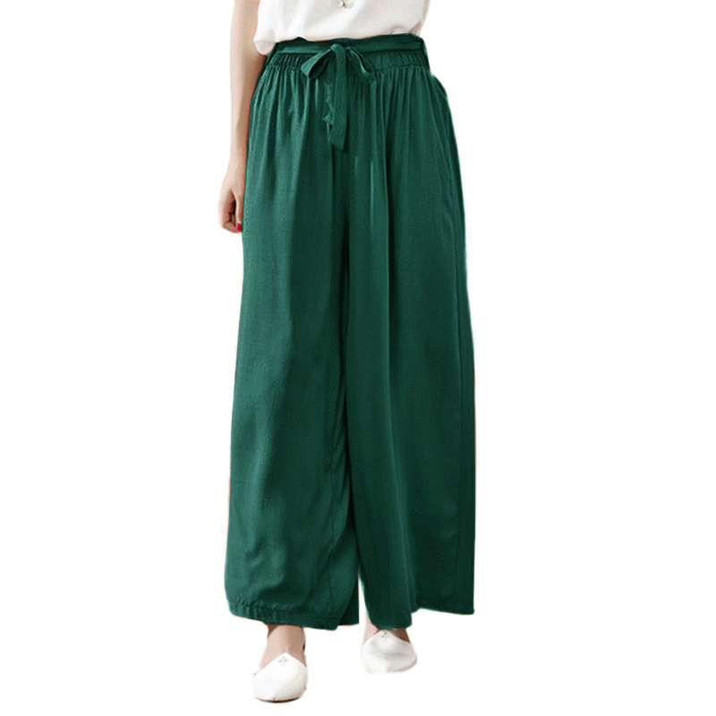 2019 Summer Casual Trousers Plus Size 3XL 4XL 5XL baggy   pants   Women   Wide     Leg     Pants   High Elastic Waist Cotton Long   Pants   female