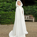Elegant Hooded Bridal Cape Ivory White Long Wedding Cloaks Faux Fur With Satin For Winter Bridal Wraps Bolero Cheap
