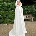 Elegante Com Capuz Capa De Noiva Branco Marfim Cloaks Faux Fur Com Cetim Para O Inverno Longo Casamento Nupcial Wraps Bolero Barato