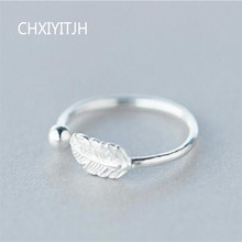 925 Sterling Silver Cute Feather Personality Adjustable Ring Fine Jewelry For Women Party Elegant Accessories wholesale chic feather ring for women