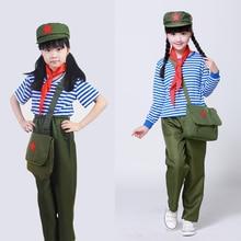 Military-Uniform Children Stage-Performance Top--Pants Red Scarf Hat--Bag Hat--Bag