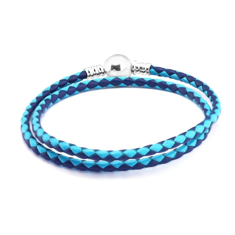 Vegyes kék dupla bőrű bársony karkötők 925 ezüst ékszerek - Finom ékszerek