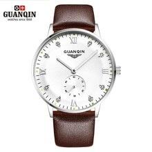 원래 guanqin 시계 남자 럭셔리 브랜드 기계식 시계 패션 비즈니스 hardlex 캐주얼 손목 시계 가죽 남성 시계