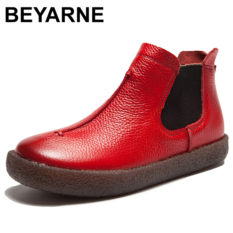 BEYARNEWomenEngland Style Brand New Women Genuine Leather Flat Boots Shoes For Lady Autumn Ankle Boots Winter Retro Martin Boots