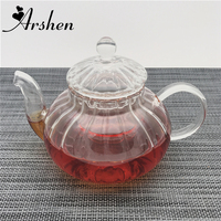 Arshen 600ml Pumpkin Style Durable Glass Teapot with Filter Handmade Heat Resistant Teapot Kungfu Flower Tea Coffee Heathly Life