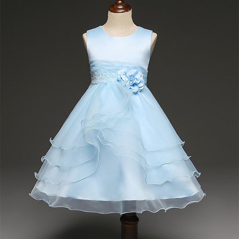 Elegante Flor de la Boda Vestido de La Muchacha Azul Lavanda Tulle ...