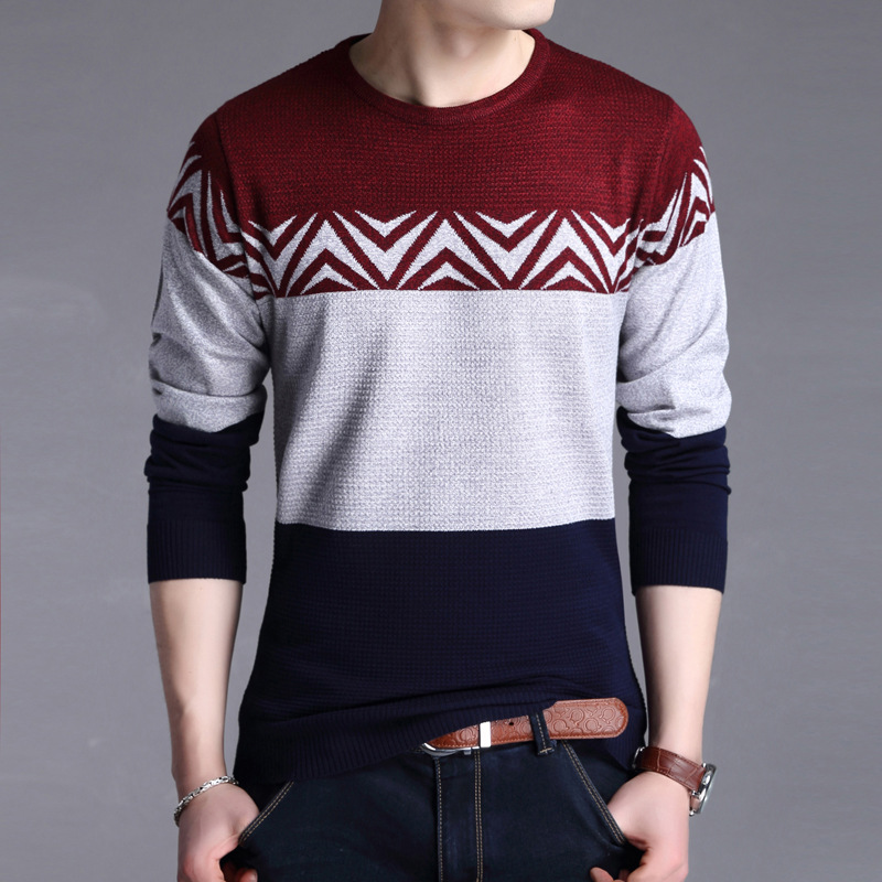 Spring Autumn Fashion Brand Casual Sweater O-Neck Striped Patchwork Slim Fit Knitted Mens Sweaters And Pullovers Men Pullover