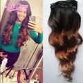 Novo brazillian onda do corpo do cabelo virgem grampo em extensões do ombre grampo em extensões do cabelo cabelo humano 7 pçs/set 8-26 polegada navio livre