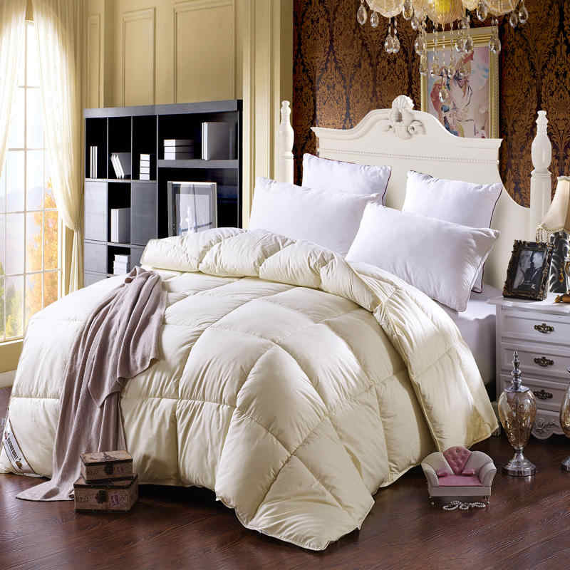 New 100% goose down winter quilt comforter blanket duvet filling cotton cover twin single queen king size white grey BLUE