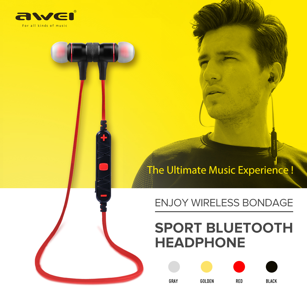 Awei A920BL Smart Wireless Sport Earphone Bluetooth 4.1 Stereo In-ear Earphones Voice Control with Mic for IOS Android Phone ttlife original bluetooth v4 1 earphone wireless in ear stereo headset waterproof apt x sport headphone with mic for ios android