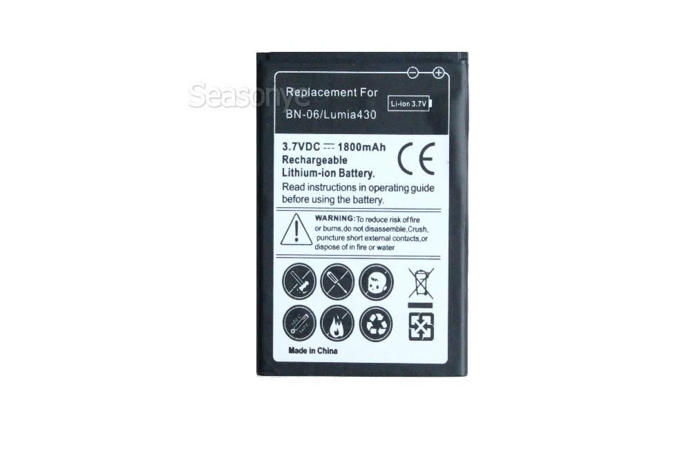 Seasonye 1800 mAh BN-06/BN06/BN 06 Remplacement Li-ion Batterie Pour Nokia Microsoft Lumia 430 Lumia430 + de Suivi Code