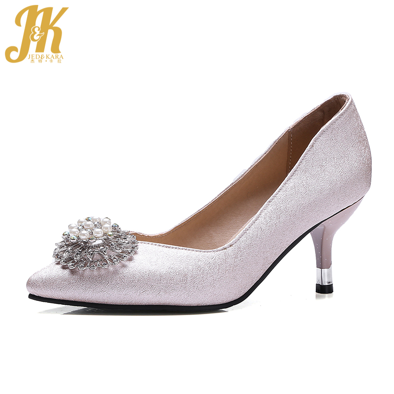 JK Big Size 32-48 High Heels Women Shoes Pointed Toe Crystal Shallow Slip On Footwear 2018 Spring Fashion Office Ladies Shoes hot sale 2016 new fashion spring women flats black shoes ladies pointed toe slip on flat women s shoes size 33 43
