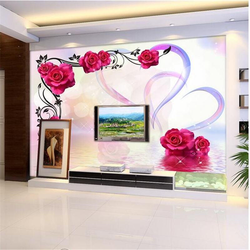 beibehang custom mural wall papers home decor wallpaper-3d Dream heart water reflection roses murals photo wallpaper for walls