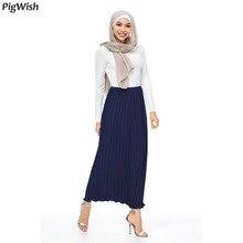 Islamic-Clothing Abaya Muslim-Skirt Fashion Pleat Chiffon Ankle-Length Party Elegant