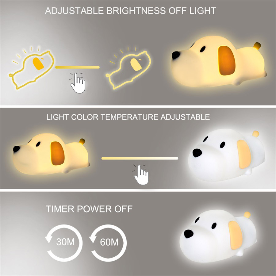 Image 4 - Silicone Cartoon Puppy Dog Touch Sensor LED Night Light Baby Children Bedroom LED Night Lamp USB Atmosphere Novelty Light-in LED Night Lights from Lights & Lighting