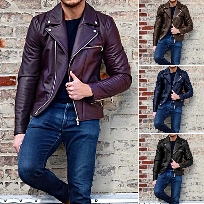 European Casual Mens Biker Leather Jacket and Coats China Online Sale Motorcycle Mans Avirex Leather Jackets Male Clothing Brand