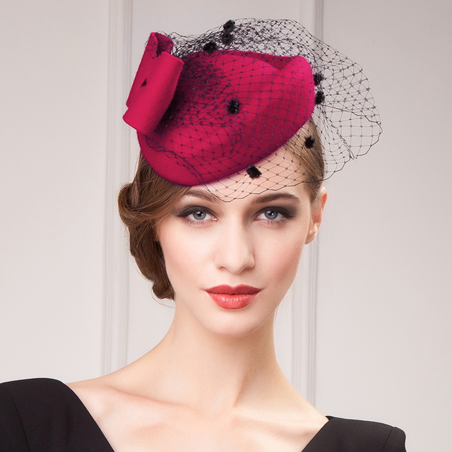 abeab8cfa235c Autumn and Winter Fedora Pure Wool Little Hats Women Vintage Hat with Tulle  Ball Dancing Party Gossip Girl Cap Classic Red Color