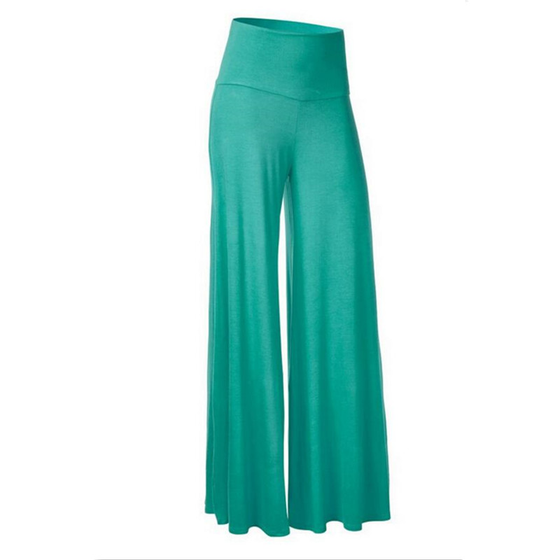 2017 Women Casual Loose Wide Leg Pants Vintage Elastic