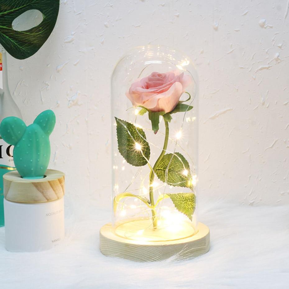Красавица и Чудовище красная роза в стеклянном куполе на деревянной основе для подарков на день Святого Валентина - Цвет: Розовый