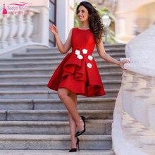 Red Knielangen Cocktailkleider Satin Sweety Homecoming Kleider V-Zurück Eine Linie Partei-kleid-formale Feiern Kleider Z868