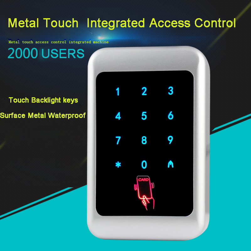 Touch screen&Metal case125KHZ RFID/13.56MHZ +password IP68 waterproof access control system, Blue backlight lID/IC Card Reader metal rfid em card reader ip68 waterproof metal standalone door lock access control system with keypad 2000 card users capacity
