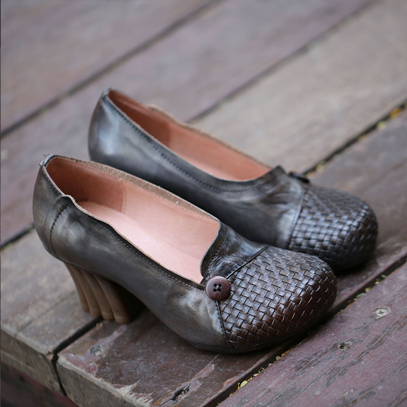 Tyawkiho Genuine Leather Women Pumps 2018 Spring Set Foot Lazy Shoes 6 CM High Heels Gray Retro Handmade Leather Pumps Brand