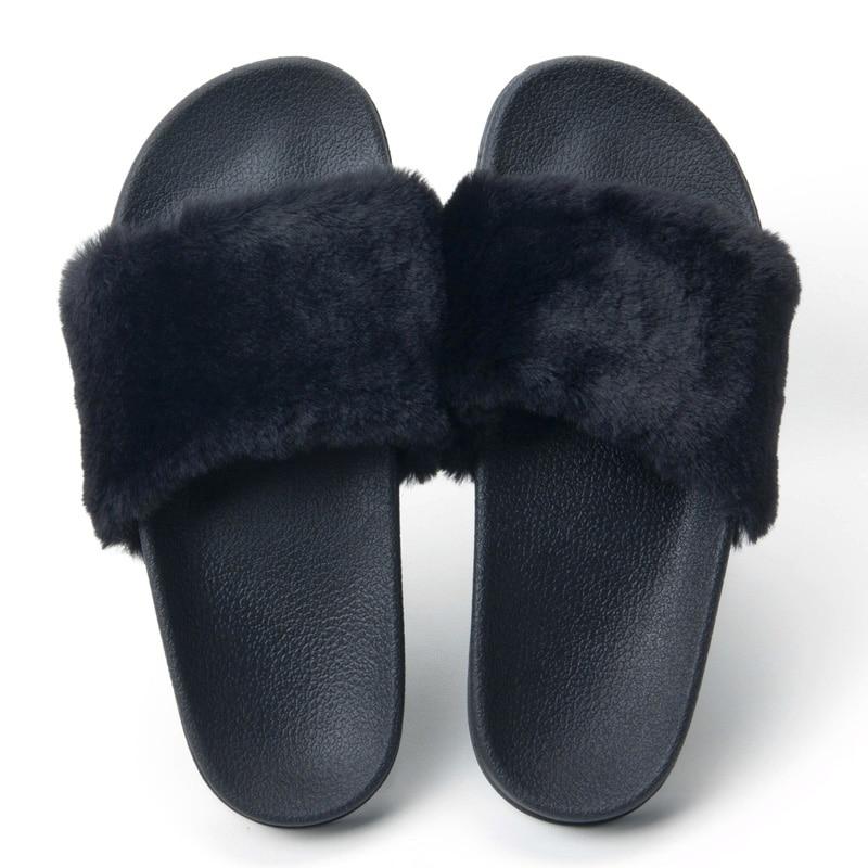 Fur Slides Slippers Flip Flops Shoes Womens Platform Slik
